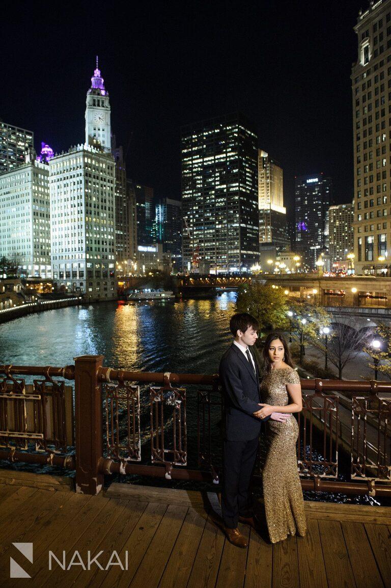 night time chicago engagement photographer riverwalk