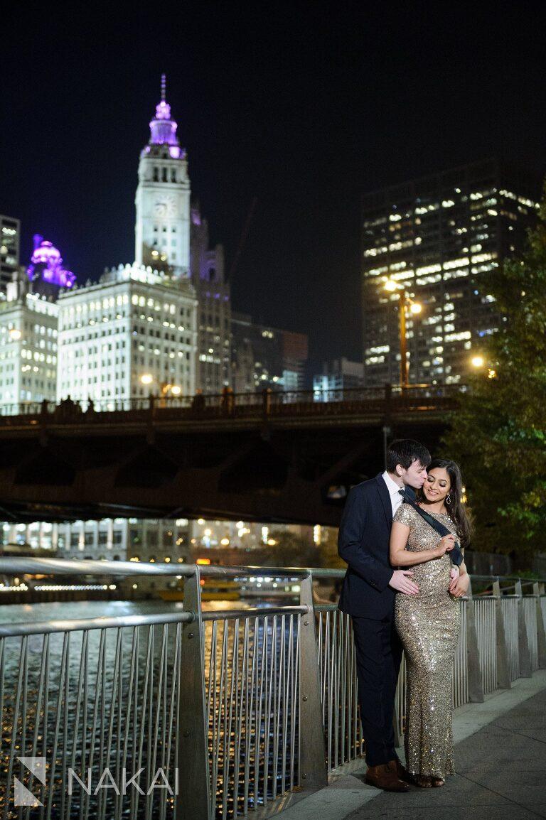 riverwalk engagement photo chicago night time