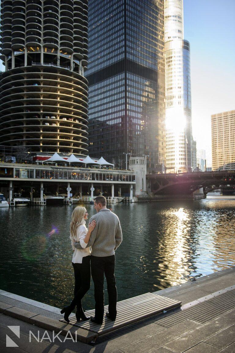 riverwalk engagement photo chicago