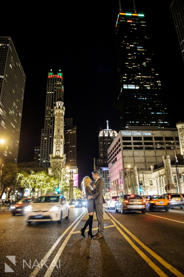 michigan ave engagement photographer night time