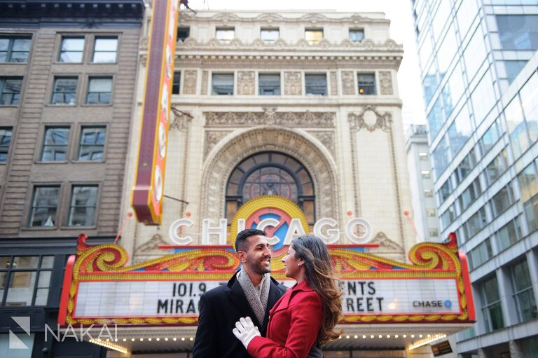winter chicago engagement photo marquee