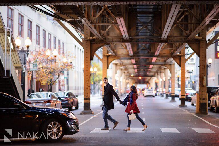 winter chicago engagement picture train tracks cta