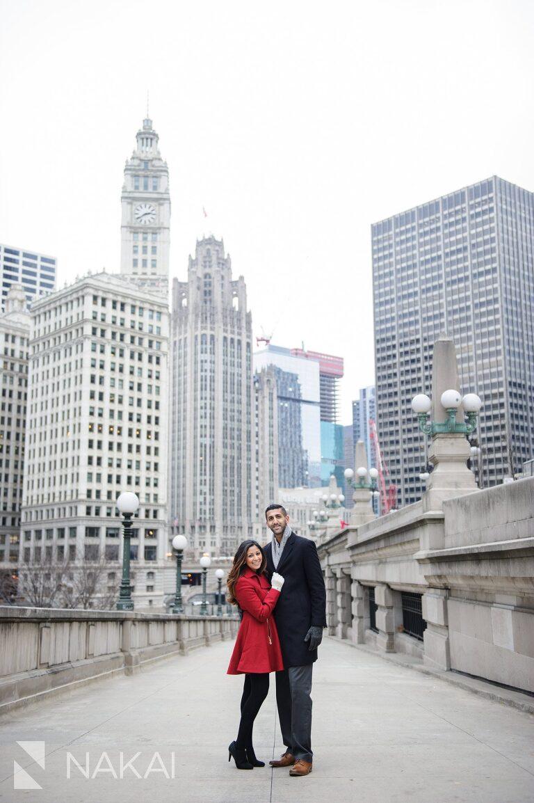 winter chicago engagement picture riverwalk