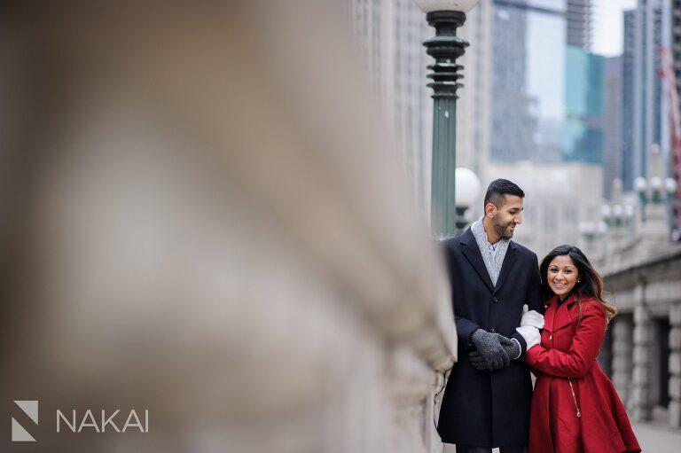 winter chicago engagement photo