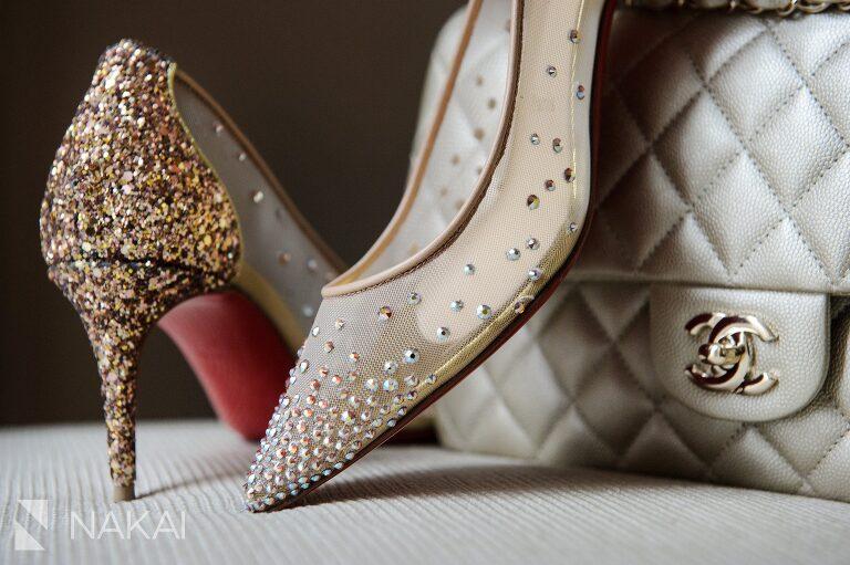 waldorf astoria chicago wedding photo shoes christian louboutin