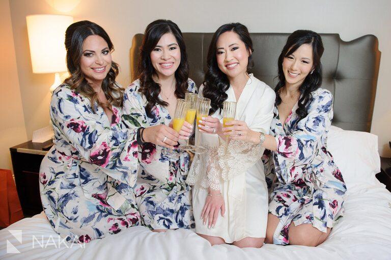 chicago wedding bridesmaids robe bride waldorf astoria