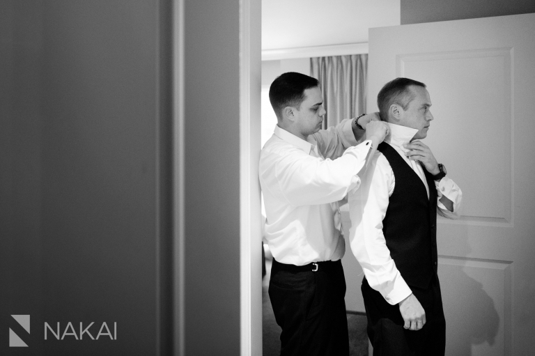 chicago waldorf wedding pictures getting ready groom