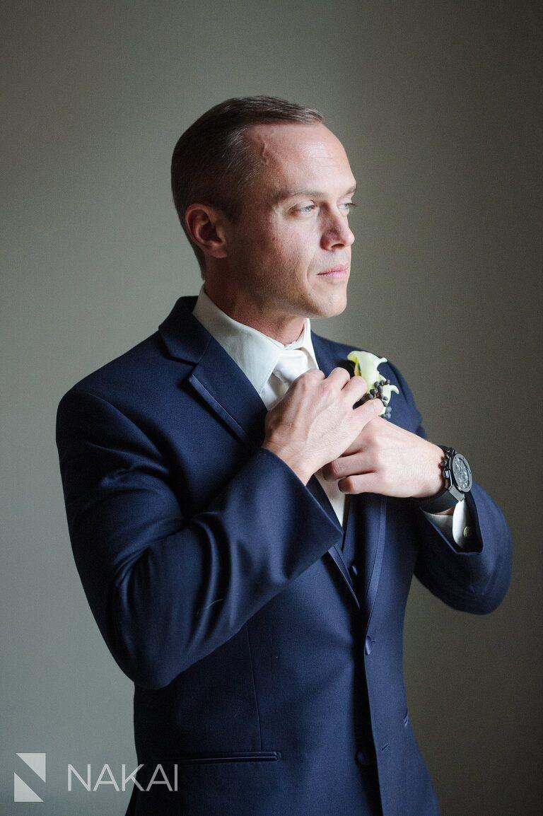 chicago waldorf wedding photos getting ready groom