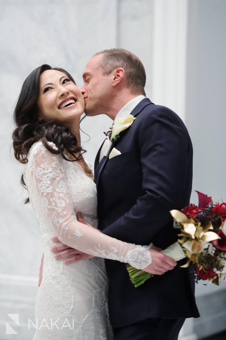 chicago waldorf wedding photographer bride groom lobby