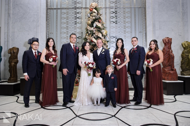 chicago waldorf wedding photos bride groom lobby
