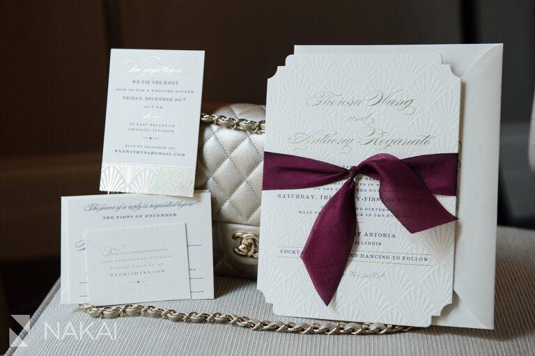 waldorf astoria chicago wedding photo invitations stationary