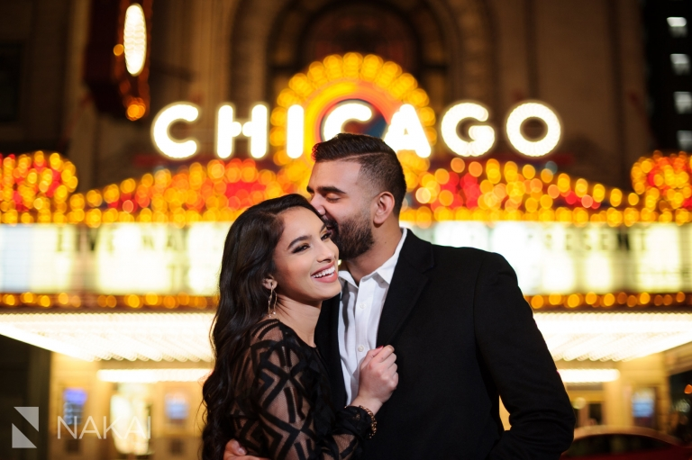 best night chicago engagement locations photographer marquee sign