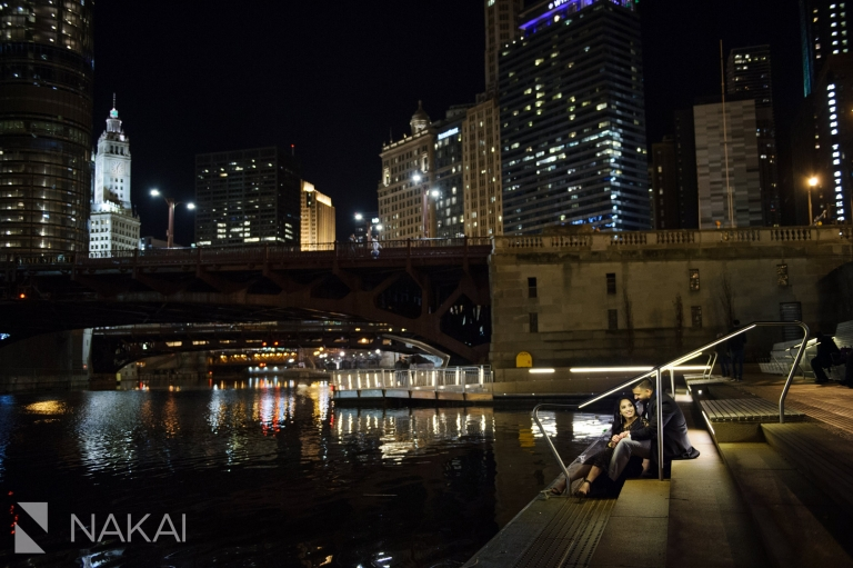 best night chicago engagement locations photographer riverwalk