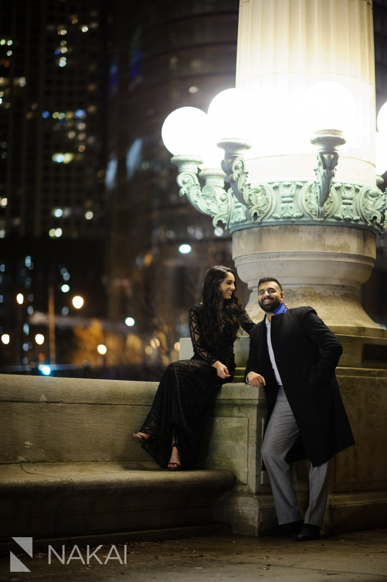 best night chicago engagement locations photography riverwalk