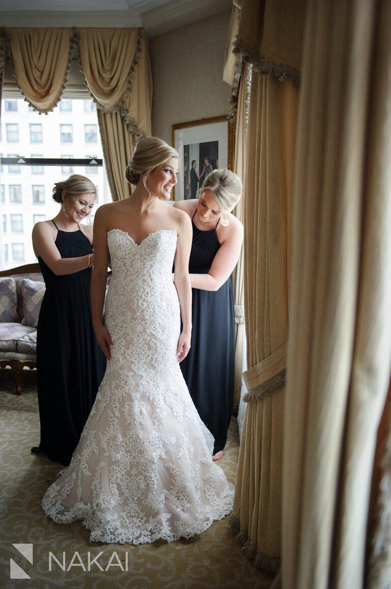 drake chicago wedding bride dress pictures
