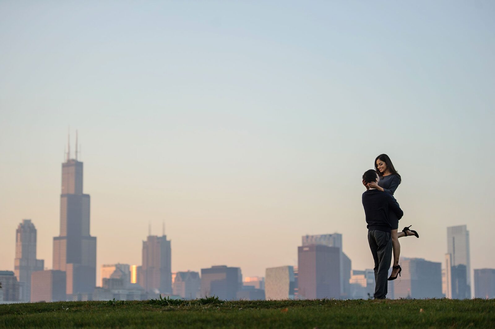 chicago skyline engagement photo adler