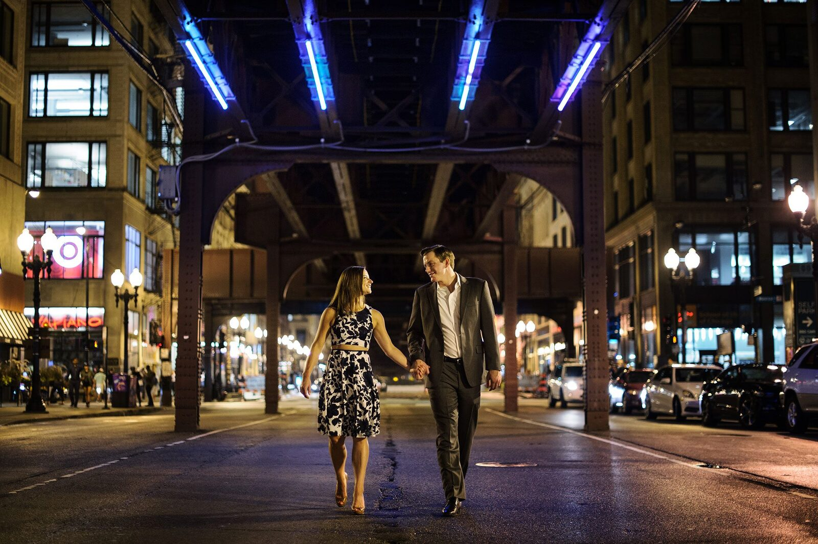 chicago engagement photo night best