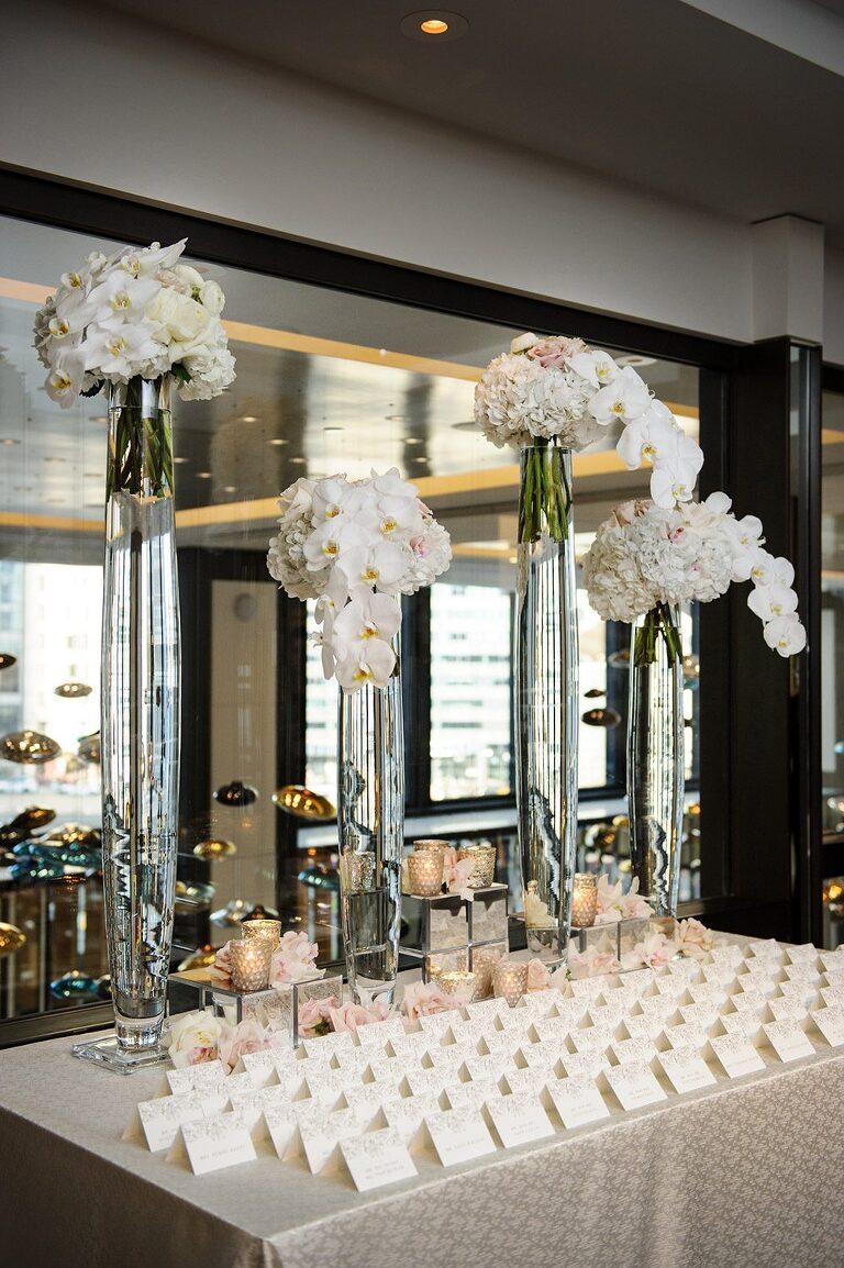 top chicago wedding detail photo escort card table
