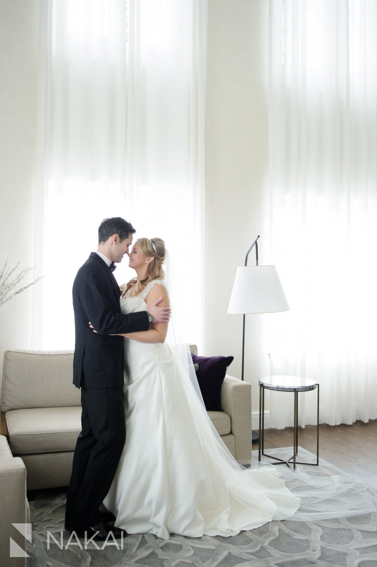 Intercontinental Chicago Magnificent Mile wedding photographer bride groom