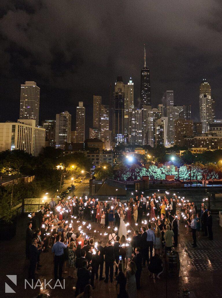 Rooftop Chicago Wedding Photo Savage Smyth Sparklers
