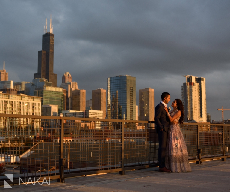 Morgan mfg wedding photos rooftop skyline