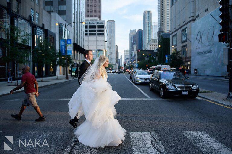 chicago Michigan avenue wedding photographer bride groom