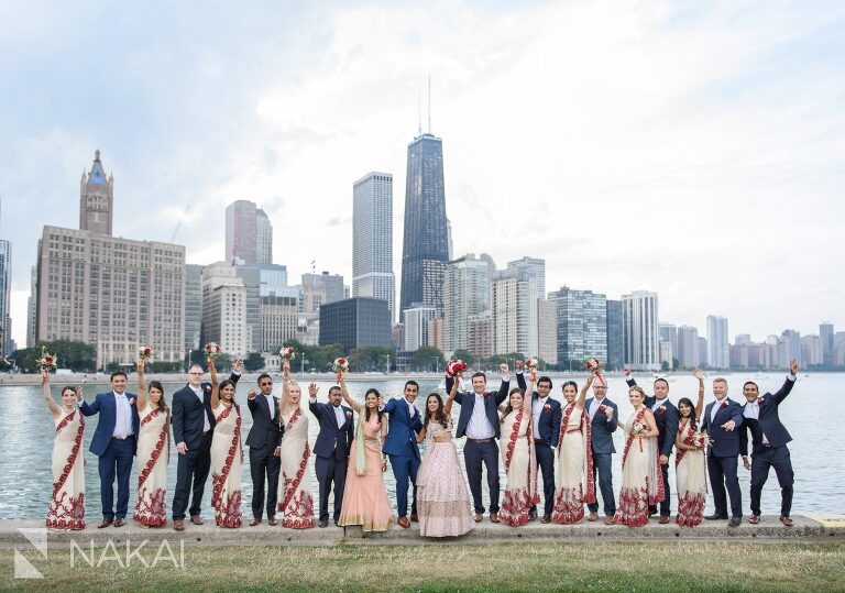 chicago Indian wedding photos olive park bridal party
