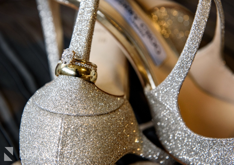jimmy Choo shoes wedding ring detail photo