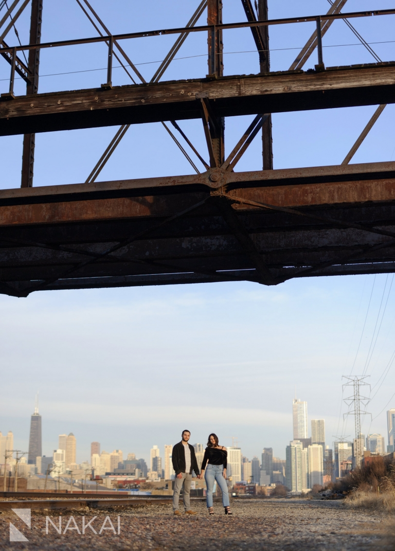 creative Chicago engagement photos west loop railroad