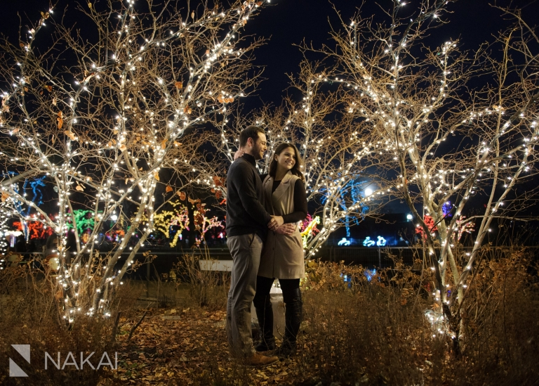 Chicago zoo lights engagement pictures