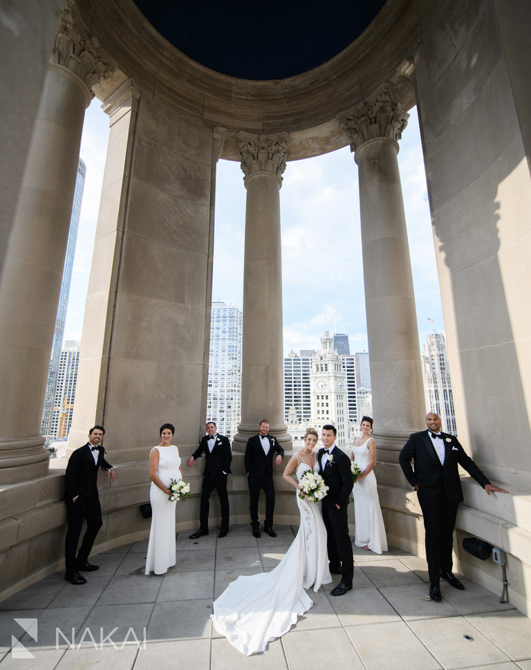 londonhouse Chicago wedding photo cupola rooftop bridal party