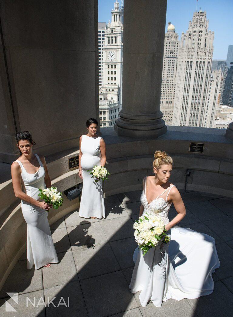 londonhouse Chicago wedding photographer cupola rooftop bride  bridesmaids