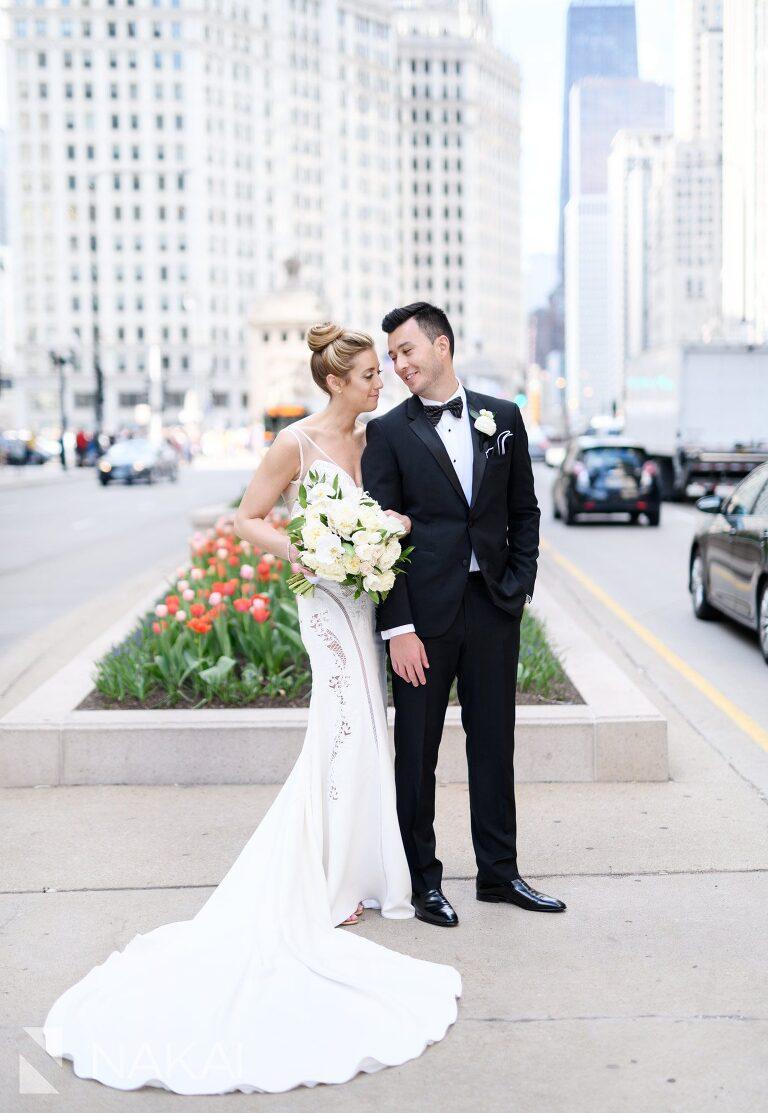 michigan avenue wedding photographer bride groom