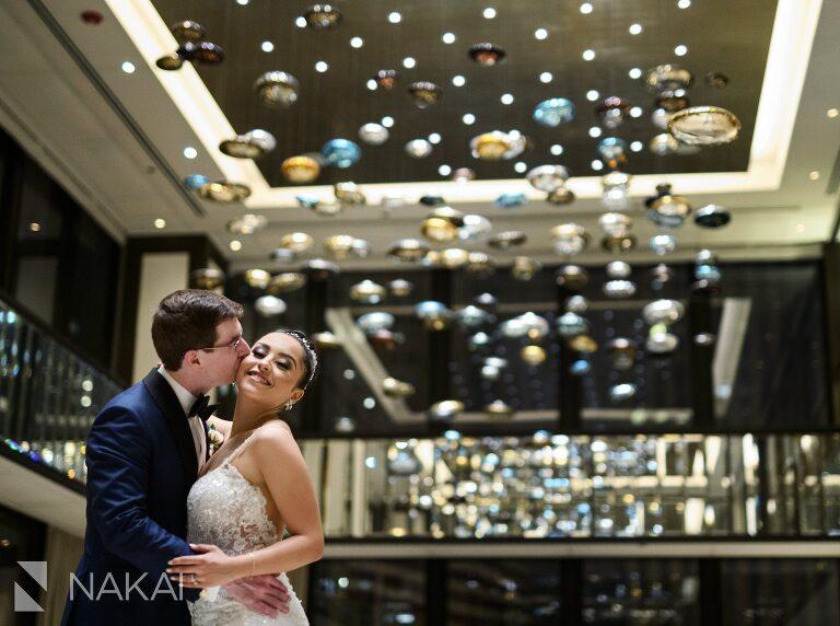 langham Chicago wedding lobby photo bride groom