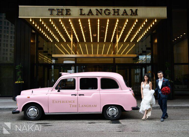 best Langham Chicago wedding photographer pink taxi