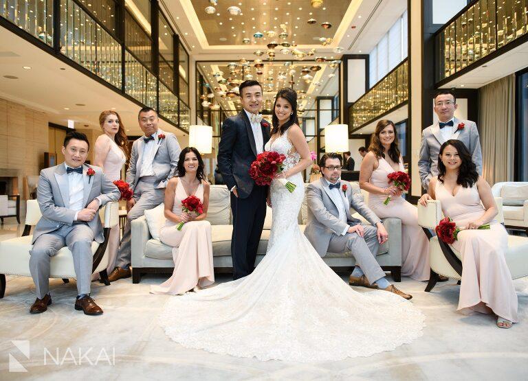 best Langham Chicago wedding photographer lobby bridal party