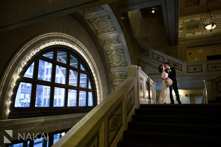 big city bride wedding photo Chicago cultural center bride groom