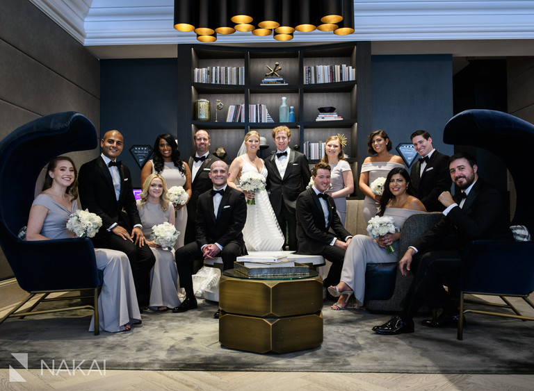 best londonhouse Chicago wedding photographers bridal party lobby