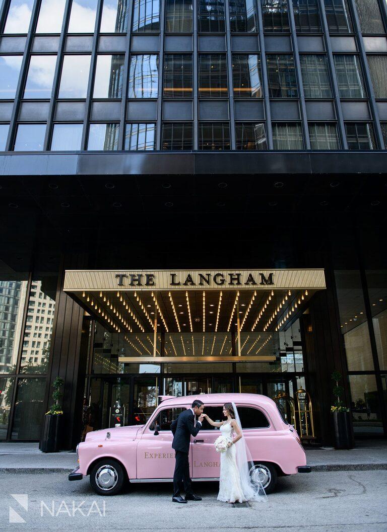 langham Chicago wedding photographer pink taxi bride groom