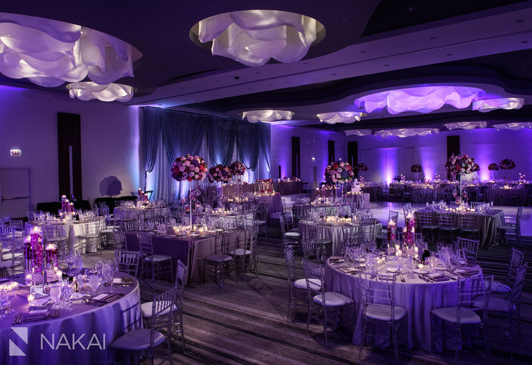 chicago loews o'hare wedding pictures reception purple lights