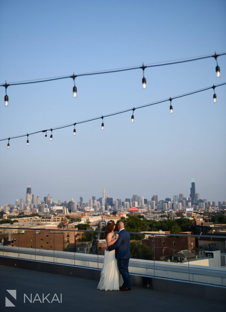 midtown Chicago hotel wedding photos rooftop bride groom