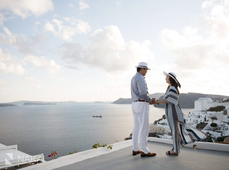 Santorini Greece wedding photographer engagement Japanese couple