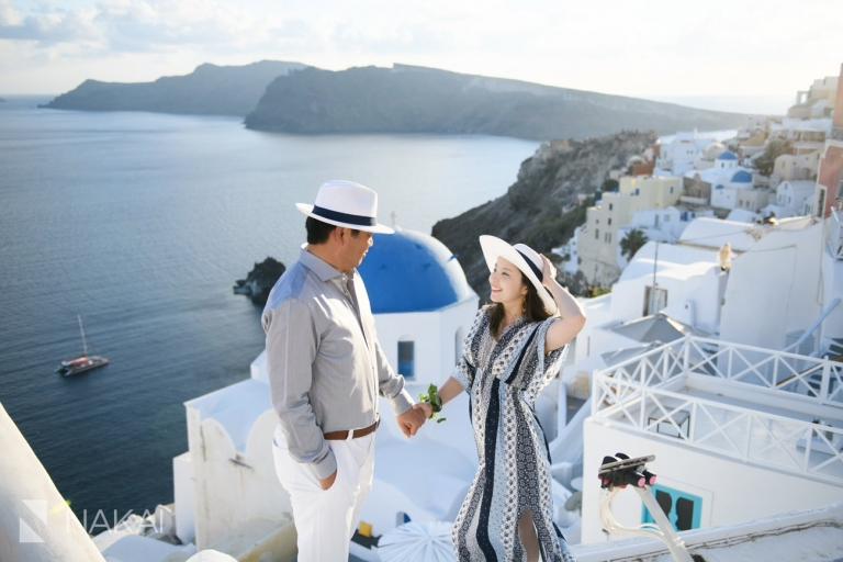 Santorini Greece wedding photos engagement Japanese couple