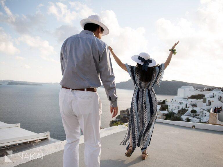 Santorini Greece wedding photos engagement Japanese couple