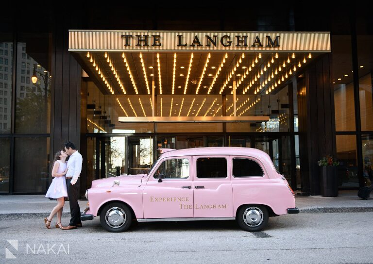 Chicago pink taxi Langham picture engagement session