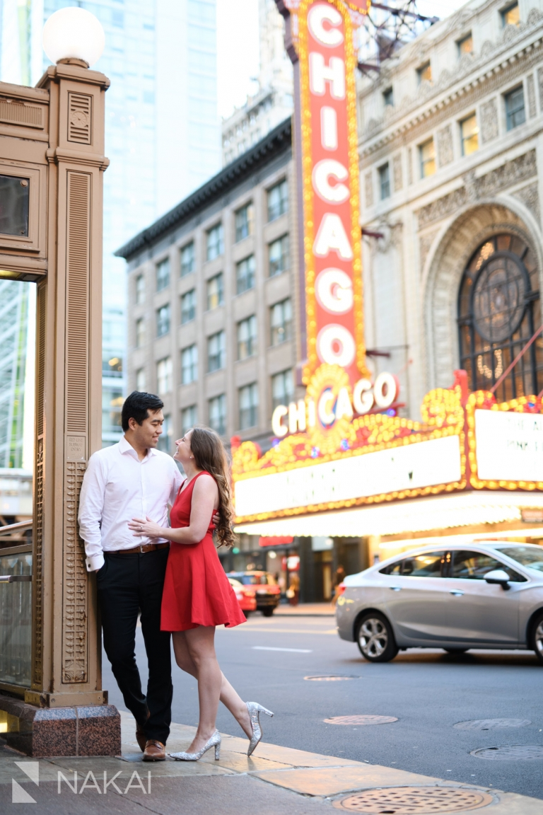 Chicago theater marquee engagement session photo
