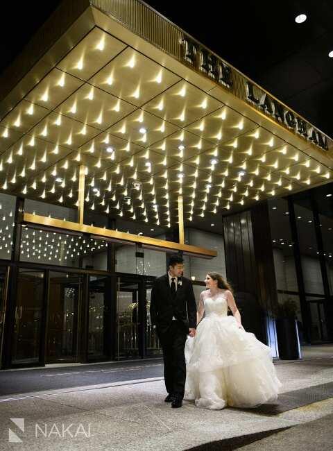 langham Chicago wedding photos bride groom sign night time