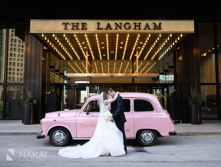 best Chicago wedding venue pink taxi photos Langham sign