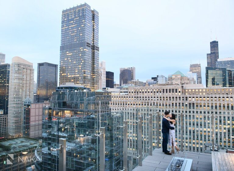 rooftop Chicago engagement photographer picture