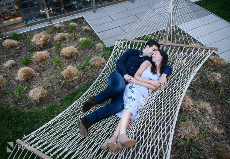 chicago engagement photographer couple hammock rooftop